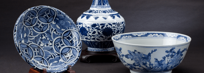Chinese porcelain with blue and white decorative art pattern